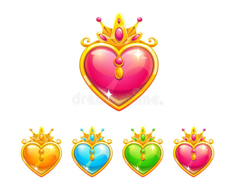 Beautiful precious decorative crystal hearts royalty free illustration