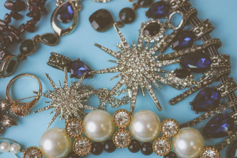 Beautiful precious shiny jewelery trendy glamorous jewelry set royalty free stock photo