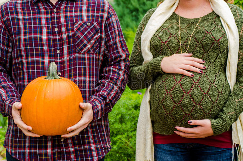 Beautiful pregnant couple royalty free stock images