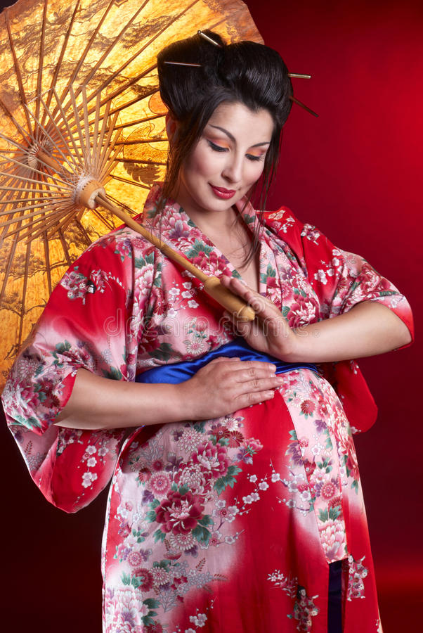 Beautiful pregnant geisha