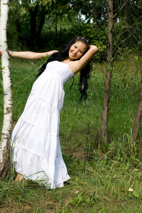Beautiful pregnant smiling girl stock photography