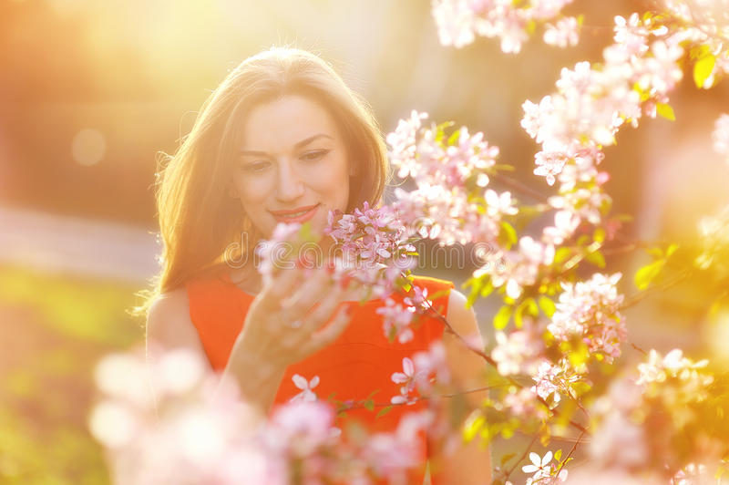 Beautiful pregnant woman in blooming garden royalty free stock photography