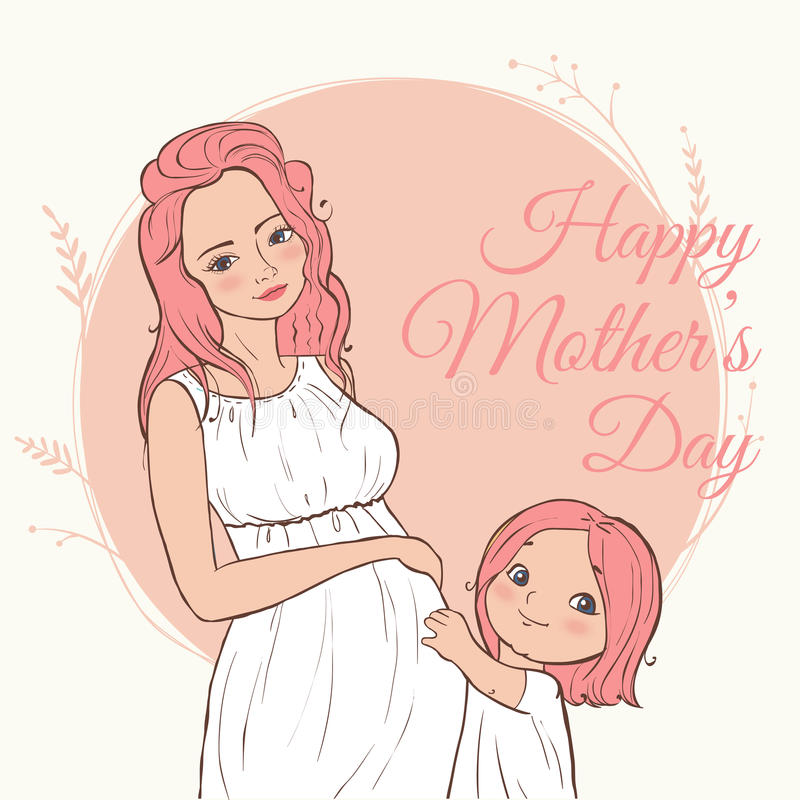 Beautiful pregnant woman. happy mothers day. Vector illustration. vector illustration