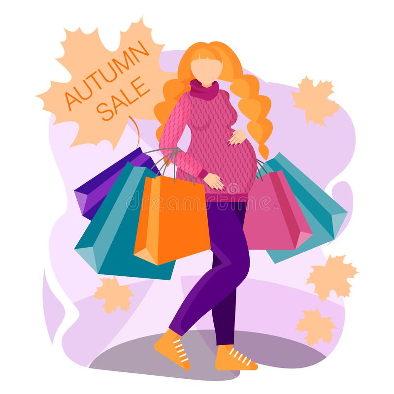 Beautiful pregnant woman is shopping for baby`s birth. Concept of a flyer, web banner, landing pages, ads, apps. Beautiful pregnant woman shopping for baby`s stock illustration