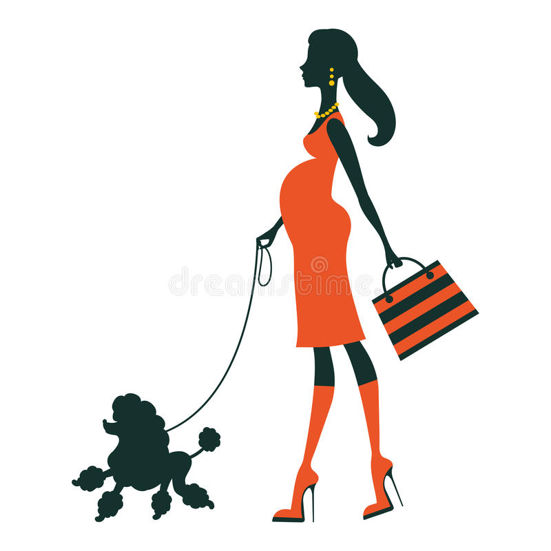 Beautiful pregnant woman silhouette with poodle stock illustration