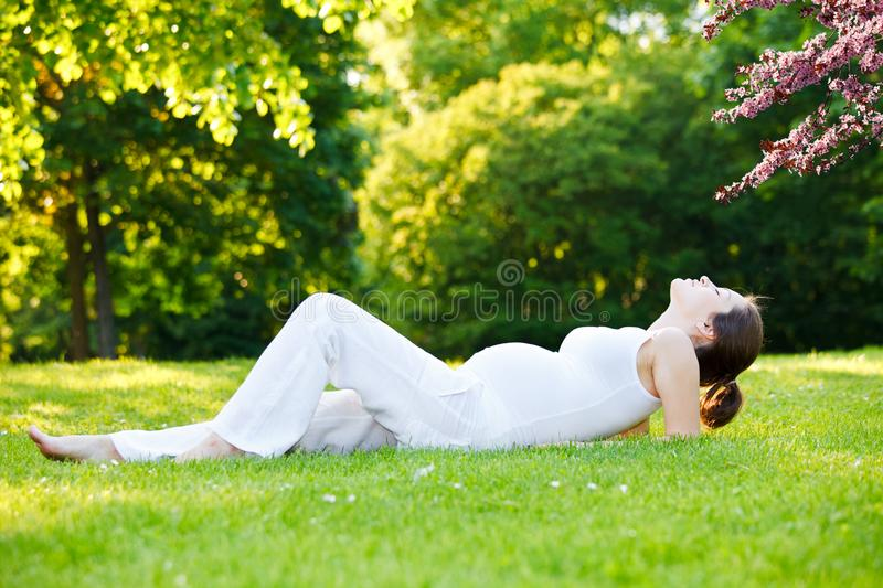 Beautiful pregnant woman in the spring park stock photo