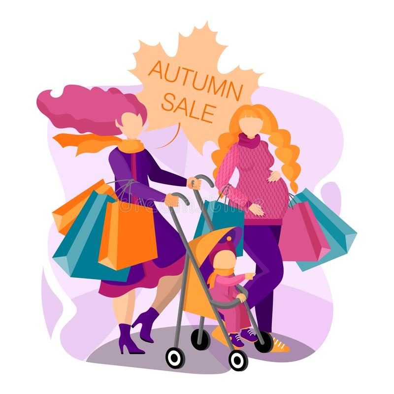 Beautiful pregnant woman and young mother with baby are shopping ay the autumn sale. Concept of a flyer, web banner, landing pages royalty free illustration