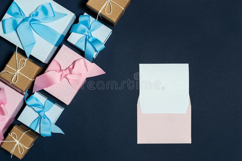 Beautiful present or gift box against color background stock image