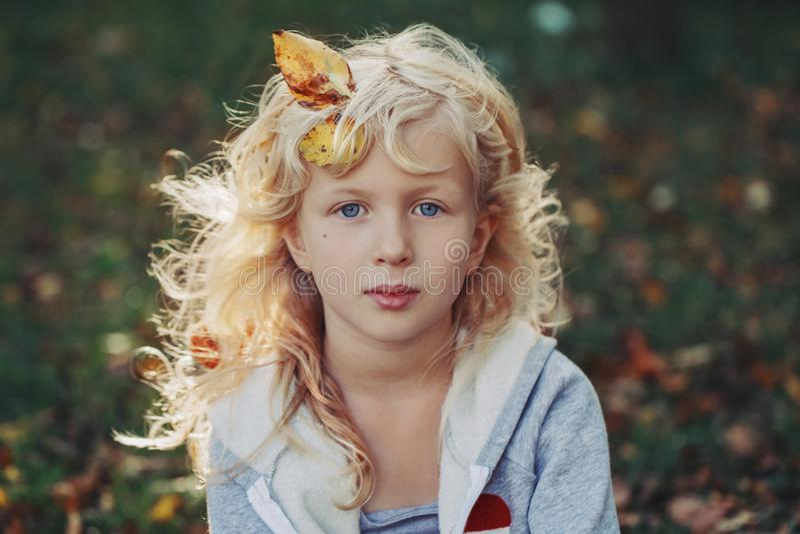 Beautiful pretty preschool Caucasian blonde girl with autumn leaves in long hair stock photos