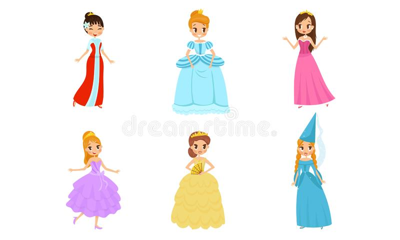 Beautiful Pretty Princess Carrying Crown Vector Illustrations Set. Nice Girl Characters Wearing Ball Costumes Concepts stock illustration