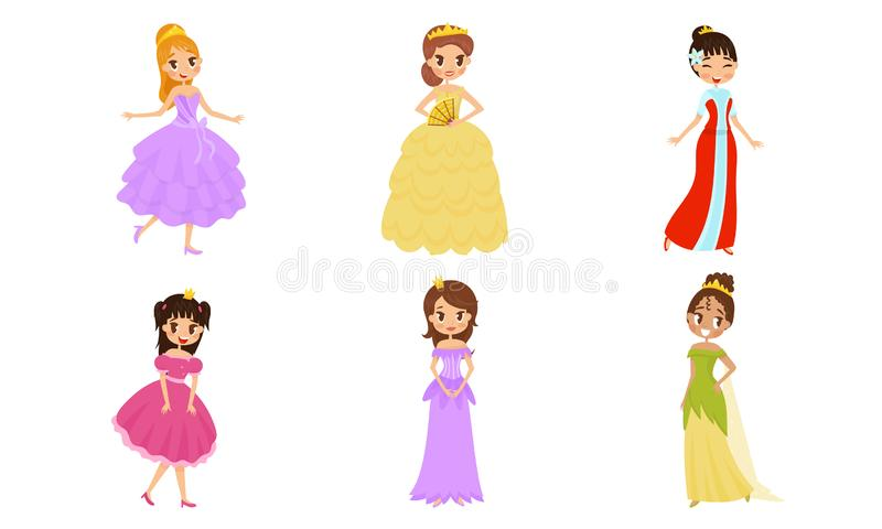 Beautiful Pretty Princess Carrying Crown Vector Illustrations Set. Nice Girl Characters Wearing Ball Costumes Concepts vector illustration