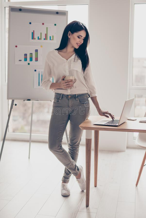 Beautiful pretty young business woman in a coffee break working stock photos