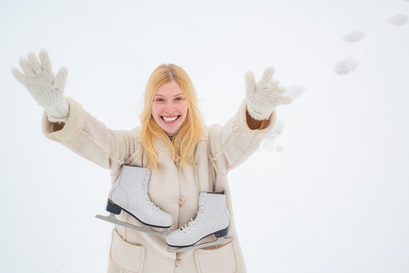 Beautiful pretty young woman in winter. Love winter. Winter landscape background. Happy fun woman. Beautiful winter stock image