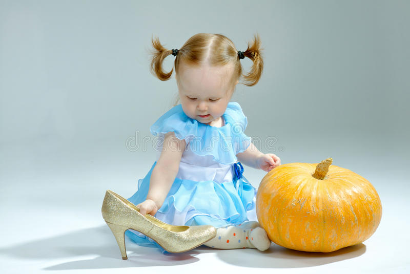 Beautiful princess in Cinderella dress royalty free stock photo