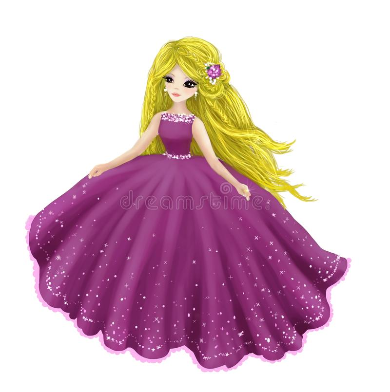 Beautiful princess. An illustration of princess in violet dress vector illustration