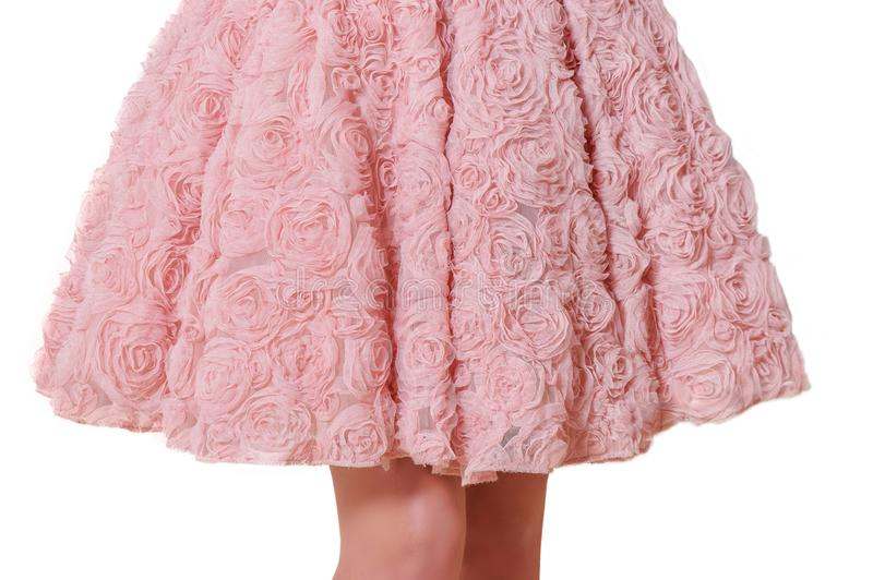 Beautiful princess style skirt with delicate lace close up details isolated on white background royalty free stock image