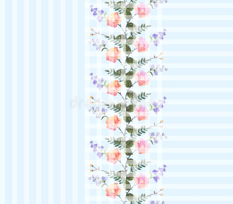 Beautiful print for fabric with romantic wreath of pink roses and lilac bell flowers on light blue geometric background. stock illustration
