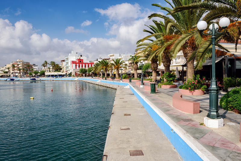 Beautiful promenade in center of Sitia town on Crete island, Greece. SITIA, CRETE, GREECE - JUNE 2016: Beautiful promenade in center of Sitia town on Crete stock photos