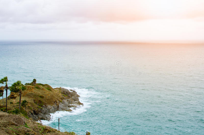 Beautiful of Promthep cape. Beautiful sky and sea of Promthep cape southest point of Phuket island before sunset. Solf filter royalty free stock photo