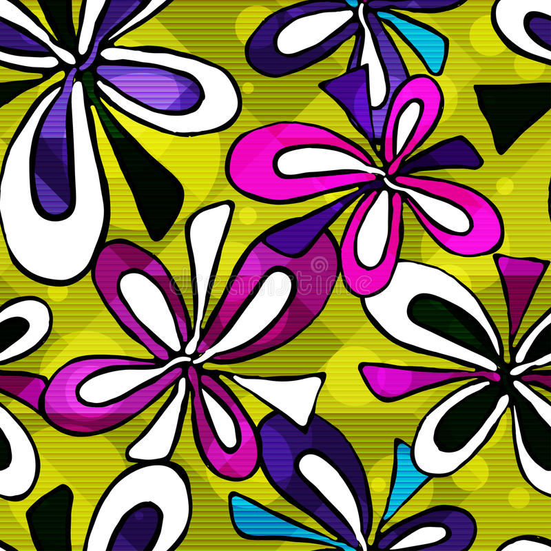Beautiful psychedelic graffiti flowers seamless background royalty free illustration