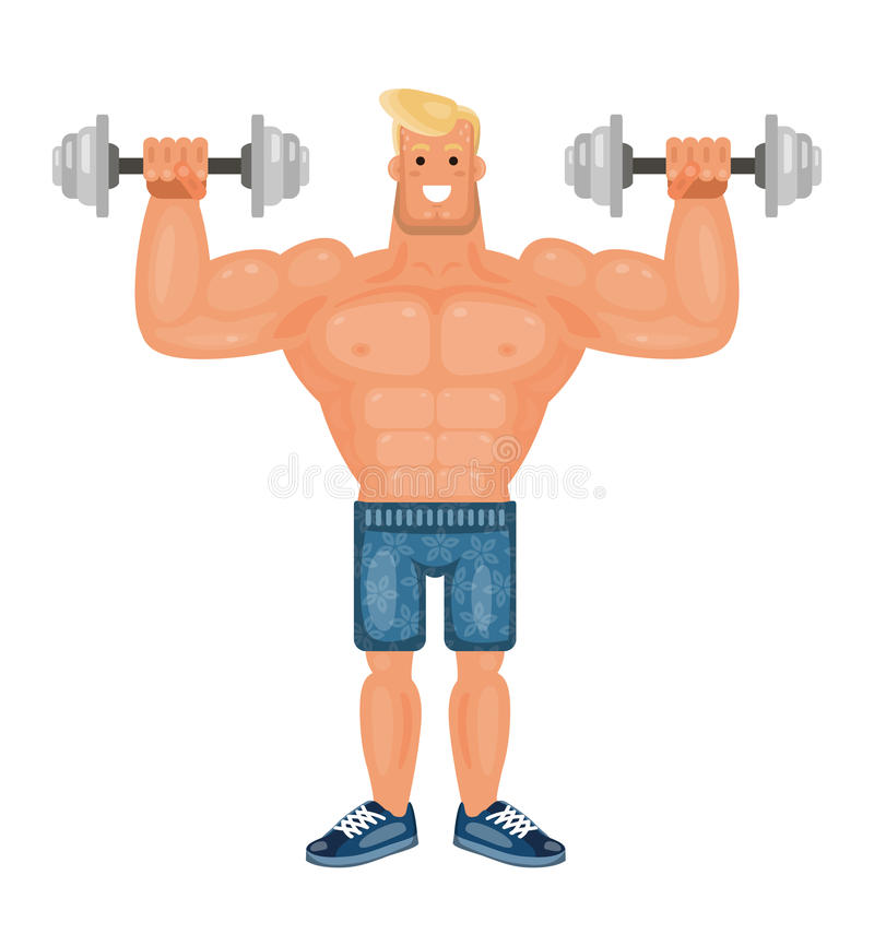 Beautiful pumped up bodybuilder man doing exercises with dumbbells and smiling, flat vector stock illustration