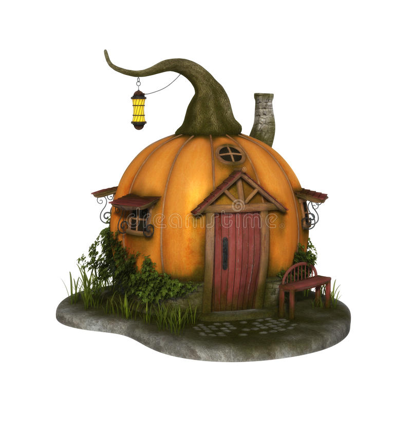Beautiful Pumpkin Fairy House. 3D render of a beautiful pumpkin fairy house stock illustration