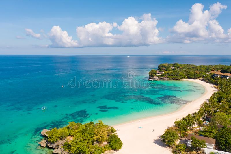 Beautiful Punta Bunga Beach on Boracay island, Philippines. Hotels near the beach in sunny weather. The coast of the island of Boracay for tourists stock photography