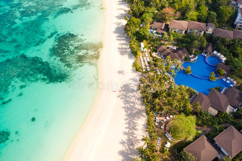 Beautiful Punta Bunga Beach on Boracay island, Philippines. Hotels near the beach in sunny weather. The coast of the island of Boracay for tourists stock images