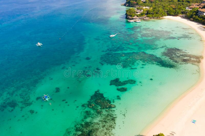 Beautiful Punta Bunga Beach on Boracay island, Philippines. White sandy beach and beautiful lagoon with coral reefs. The coast of the island of Boracay for stock photography