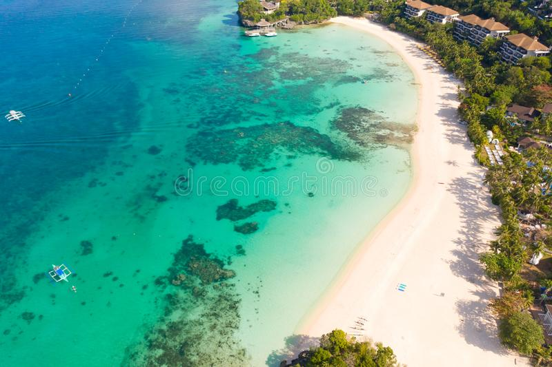 Beautiful Punta Bunga Beach on Boracay island, Philippines. White sandy beach and beautiful lagoon with coral reefs. The coast of the island of Boracay for stock photo