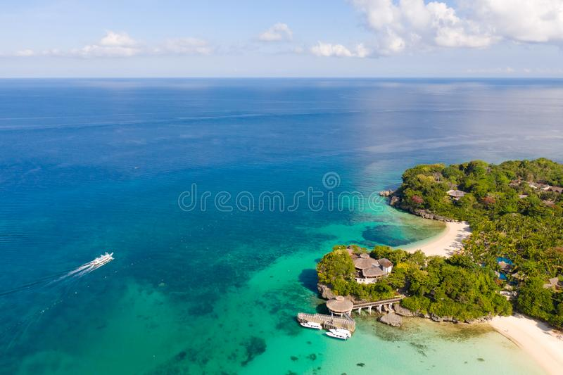 Beautiful Punta Bunga Beach on Boracay island, Philippines. White sandy beach and beautiful lagoon with coral reefs. The coast of the island of Boracay for royalty free stock photography