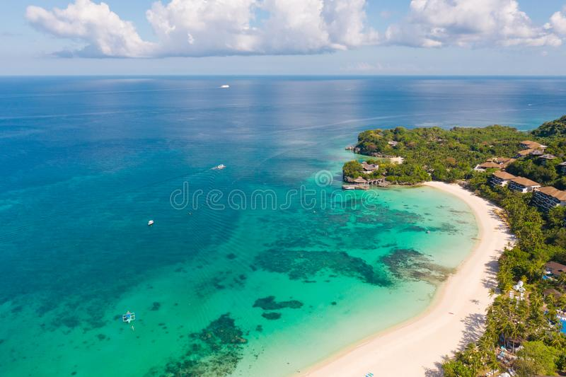 Beautiful Punta Bunga Beach on Boracay island, Philippines. White sandy beach and beautiful lagoon with coral reefs. The coast of the island of Boracay for royalty free stock image