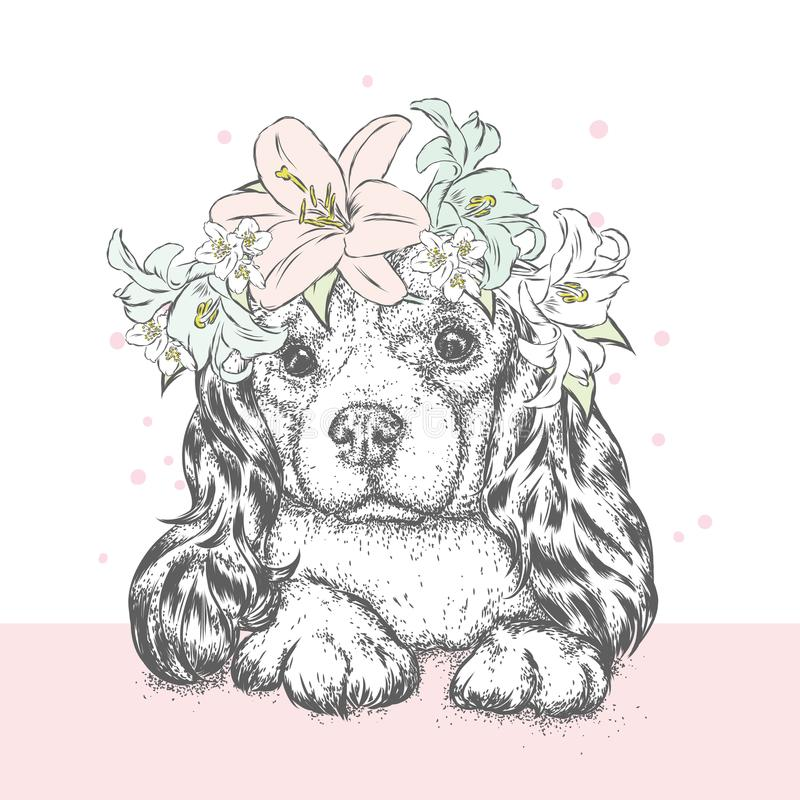 A beautiful puppy in a flower wreath. A pedigree dog in a wreath of lilies. Vector illustration for a postcard or a poster. A beautiful puppy in a flower wreath royalty free illustration