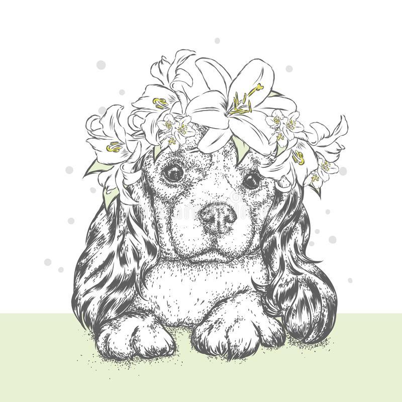 A beautiful puppy in a flower wreath. A pedigree dog in a wreath of lilies. Vector illustration for a postcard or a poster. A beautiful puppy in a flower wreath stock illustration