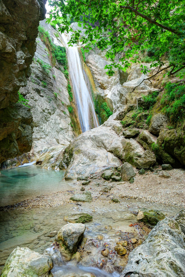 Beautiful pure clean waterfall stock photography