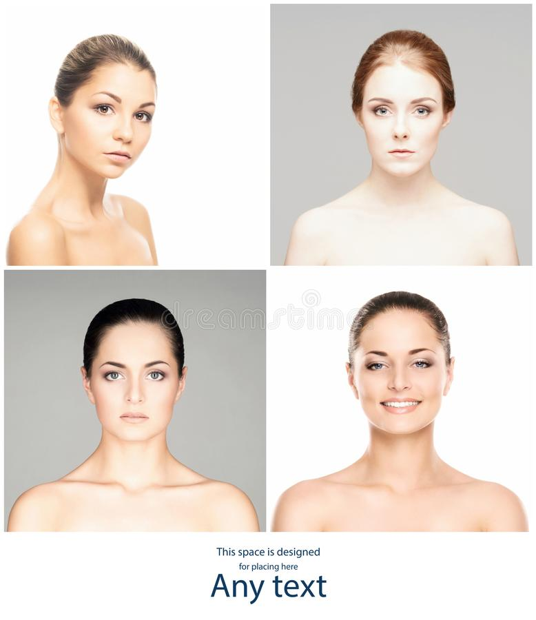 Beautiful, pure and healthy female faces. Portrait of young women in collage. Lifting, skincare, plastic surgery and stock photo