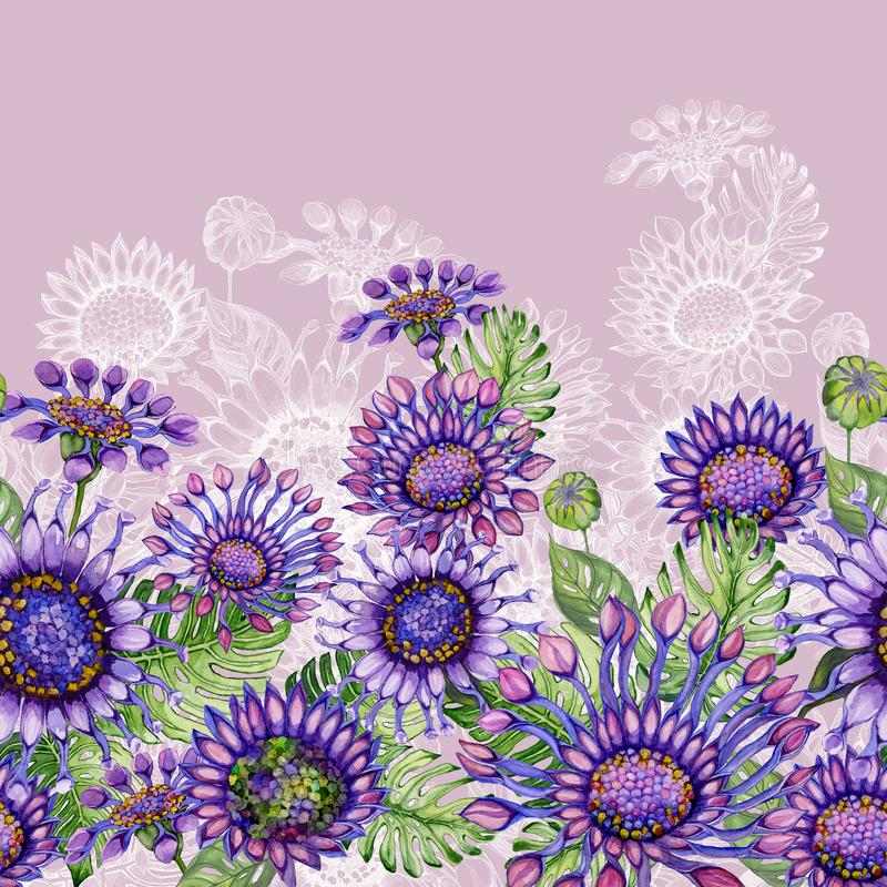 Beautiful purple African daizy flowers with exotic leaves on pink background. Seamless floral pattern. Hand painted watecolor illustration. Fabric, wallpaper royalty free illustration