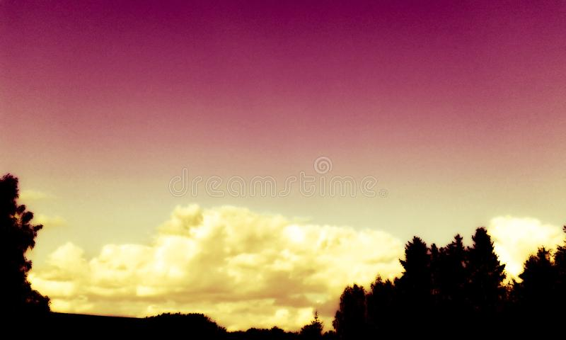 Beautiful purple sky color ... Beautiful purple color of the sky ... a magical moment, the only picture of its kind ... a golden moment stock photo