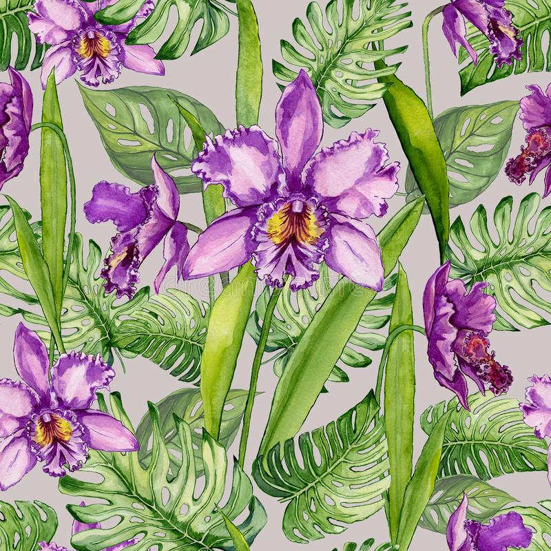 Beautiful purple orchid flowers and monstera leaves on light gray background. Seamless tropical floral pattern. Watercolor painting. Hand drawn illustration vector illustration