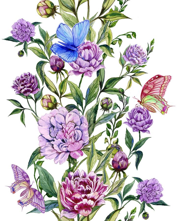 Beautiful purple peony flowers on a stems with green leaves and bright butterflies sitting on them. Seamless floral pattern. royalty free illustration