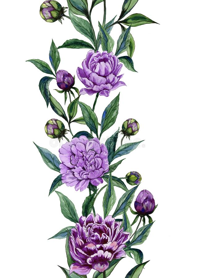 Free Beautiful Purple Peony Flowers With Green Leaves On White Background. Seamless Floral Pattern. Straight And Narrow. Royalty Free Stock Image - 112510726