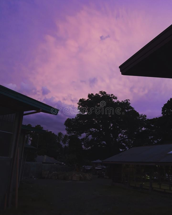 Beautiful purple sky at dusk. Shadow stock image