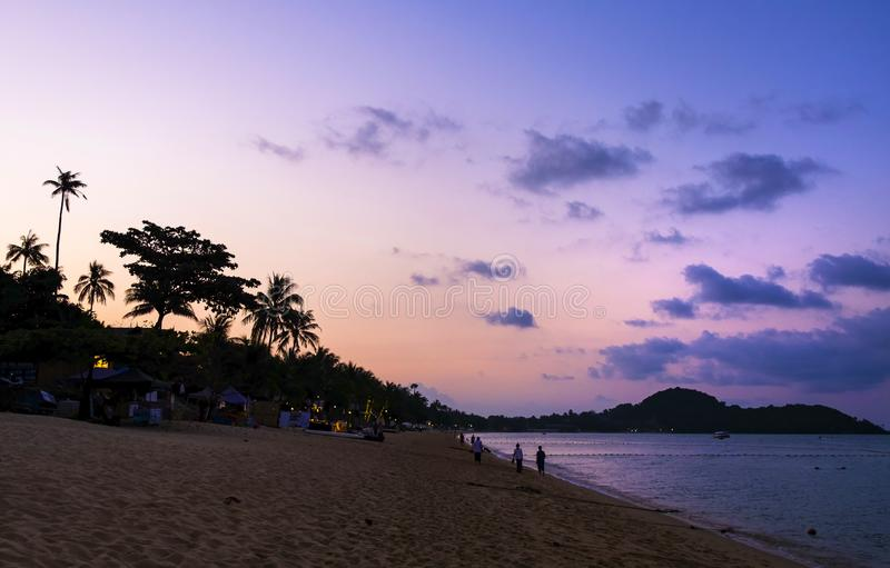 Beautiful purple sunset at tropical beach, Koh Samui Island, Thailand royalty free stock photos