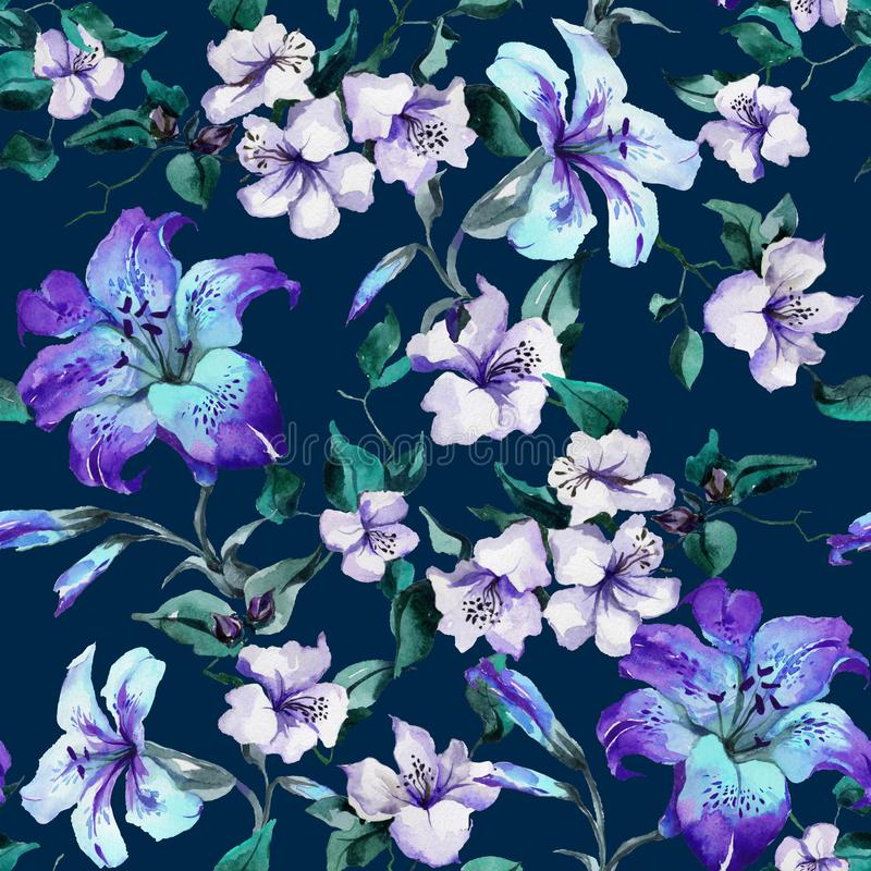 Beautiful purple tiger lilies on twigs on deep blue background. Seamless floral pattern. Watercolor painting. Hand painted illustration. Fabric, wallpaper stock illustration