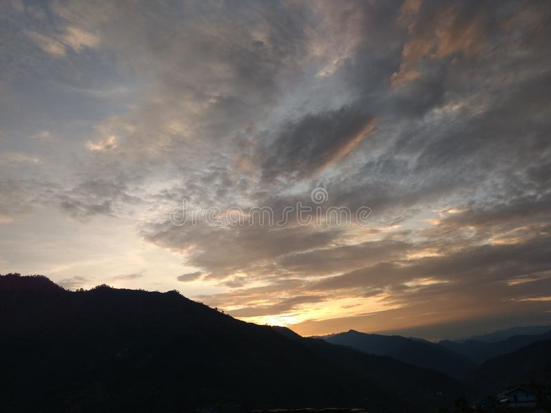 Beautiful pyaro garhwal sunset royalty free stock photo