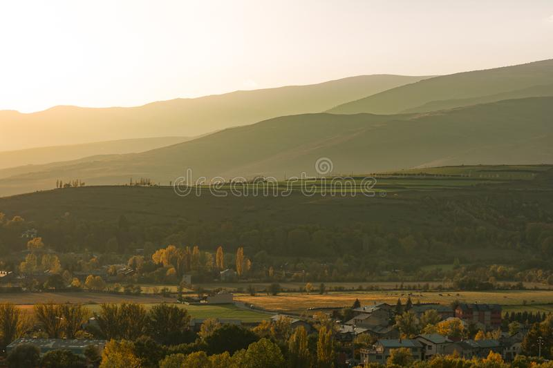 Beautiful Pyrinees mountain landscape at the golden hour. From the pictoresque town of Puigcerda in Catalonia, Spain royalty free stock images