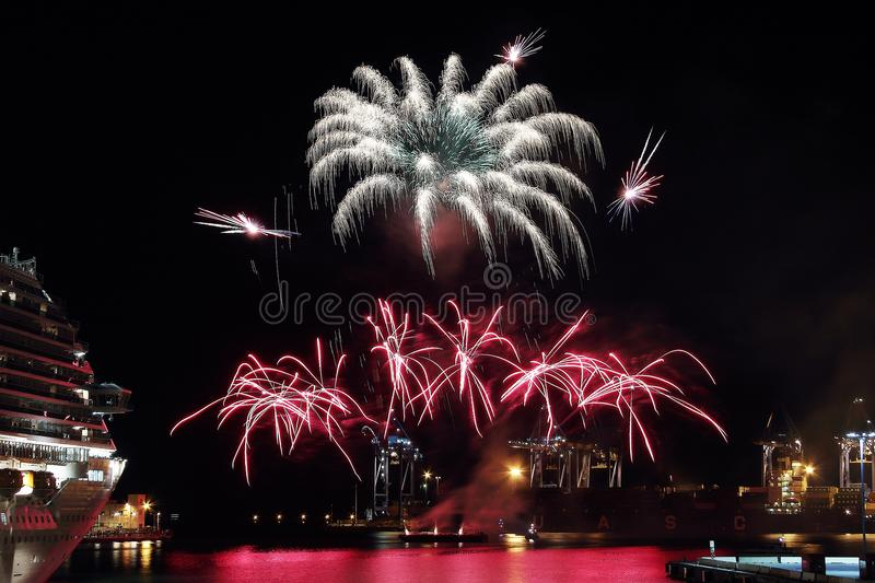 Beautiful and pyrotechnic fireworks in Genoa, Italy / Fireworks in Genoa harbor, Italy. Europe stock images