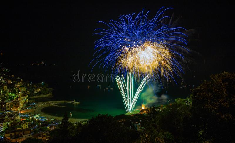 Beautiful and pyrotechnic fireworks in Recco, Italy / Fireworks in Recco, Genoa, Italy. Europe stock photography