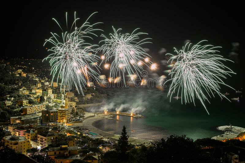 Beautiful and pyrotechnic fireworks in Recco, Italy / Fireworks in Recco, Genoa, Italy. Beautiful and pyrotechnic fireworks in Recco, Italy / Fireworks in Recco stock photography