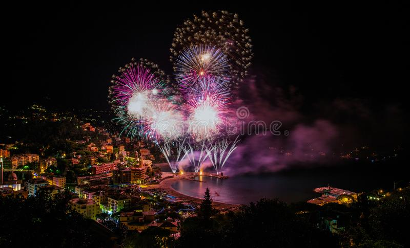 Beautiful and pyrotechnic fireworks in Recco, Italy / Fireworks in Recco, Genoa, Italy. /Europe stock photos